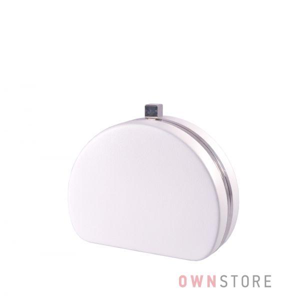 Купить онлайн клатч женский белый полукруглый из кожзама - арт.341