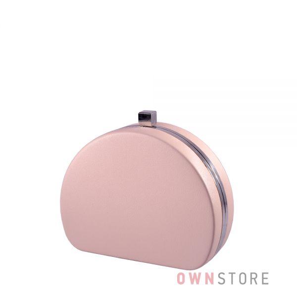 Купить онлайн клатч женский розовый полукруглый из кожзама - арт.341