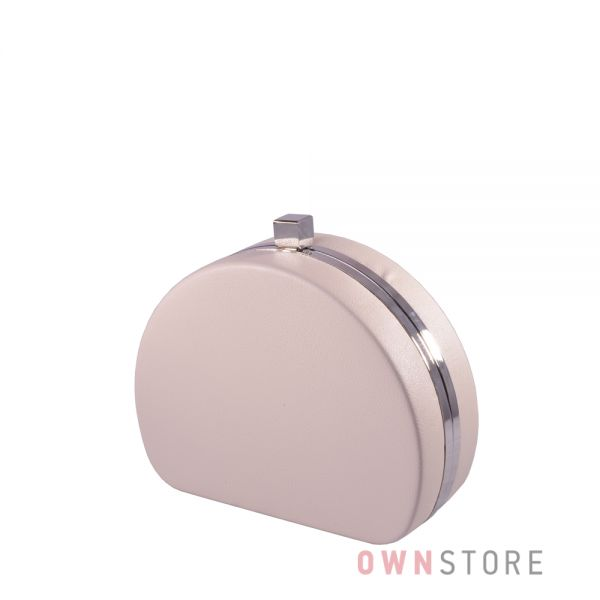 Купить онлайн клатч женский кремовый полукруглый из кожзама - арт.341