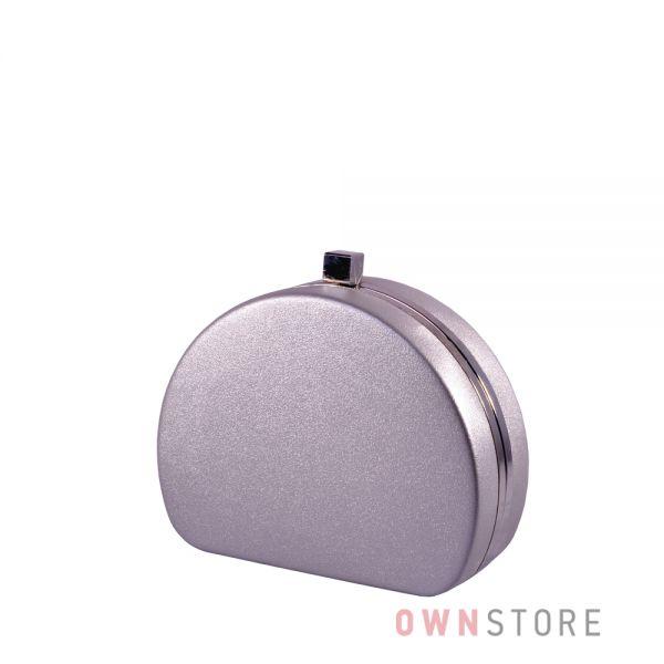 Купить онлайн клатч женский серебряный полукруглый из кожзама - арт.341