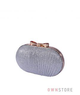 Купить онлайн клатч-ракушку женский серебряный парчовый - арт.443