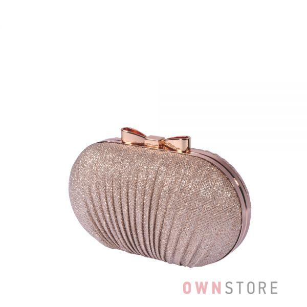 Купить онлайн клатч-ракушку женский шампань парчовый - арт.443