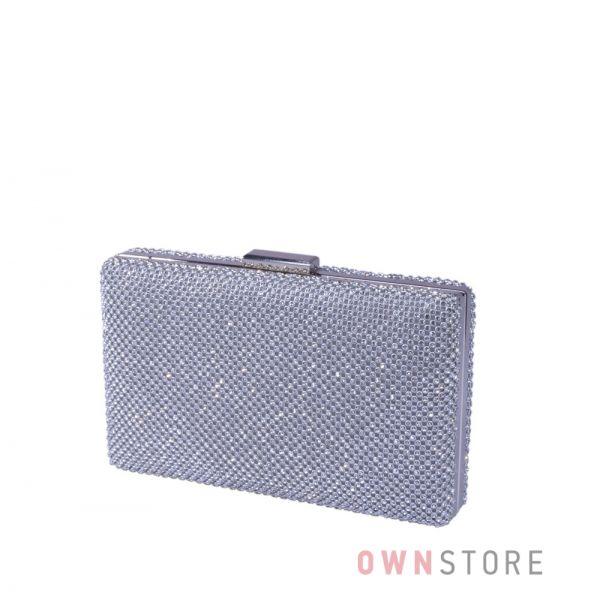 Купить онлайн клатч женский прямоугольный со стразами серебряный - арт.5052
