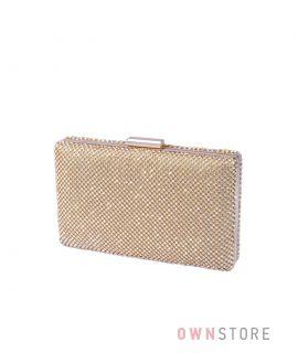 Купить онлайн клатч женский прямоугольный со стразами золотой - арт.5052