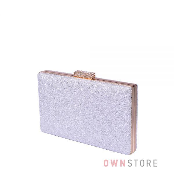 Купить онлайн клатч женский белый из кожзама с блеском - арт.633-2