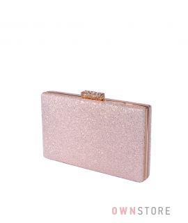 Купить онлайн клатч женский розовый из кожзама с блеском - арт.633-2