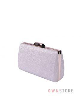Купить онлайн парчовый женский серебряный клатч - арт.7559