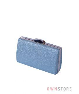 Купить онлайн парчовый женский серо-голубой клатч - арт.7559