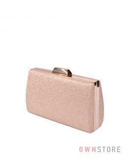 Купить онлайн парчовый женский золотой клатч - арт.7559