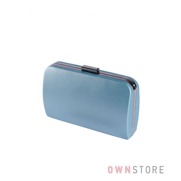 Купить онлайн большой голубой женский клатч из кожзама - арт.7679