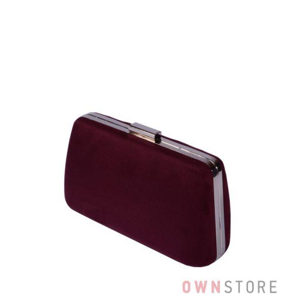 Купить онлайн клатч женский в форме трапеции замшевый бордовый - арт.7680