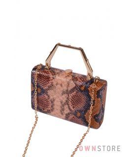 Купить онлайн женский прямоугольный клатч из кожзама под змею - арт.9713