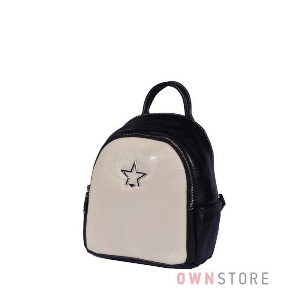 Купить небольшой комбинированный кожаный женский рюкзак - арт.375