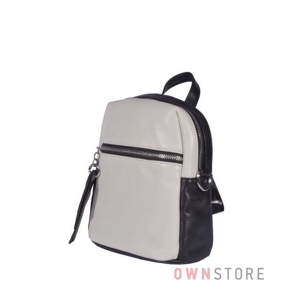 Купить онлайн черно-белый женский мини рюкзак из кожи - арт.6658