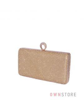 Купить онлайн клатч женский  золотой с кольцом на застежке и в стразах - арт.17832