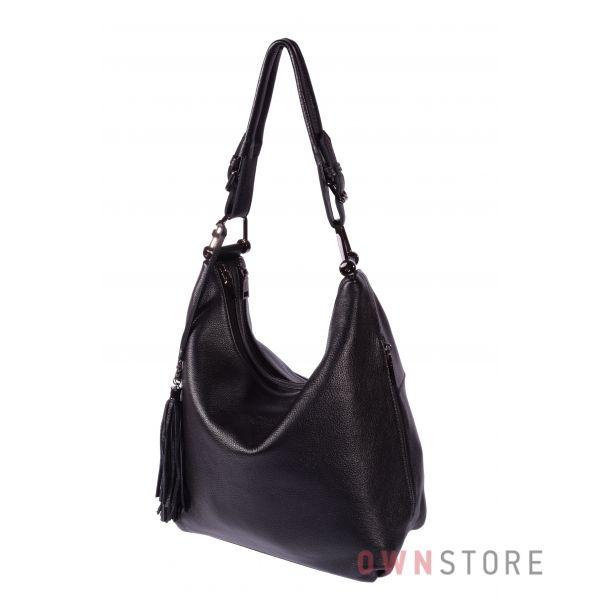 Купить онлайн сумку женскую на два отделения черную кожаную - арт.1871