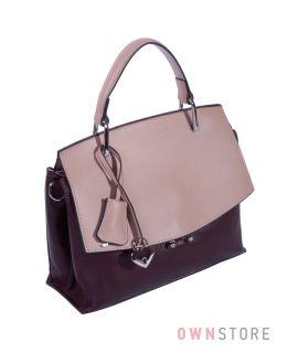 Купить онлайн сумку женскую кожаную бордово-пудровую - арт.1903