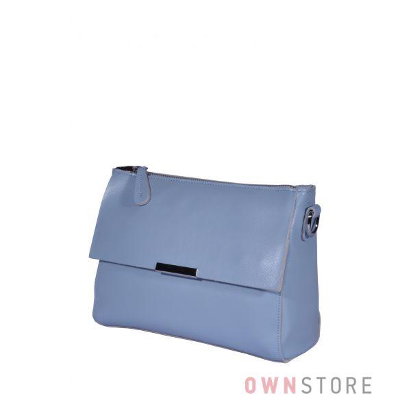 Купить онлайн сумочку женскую с декоративным клапаном нежно-голубую - арт.2044