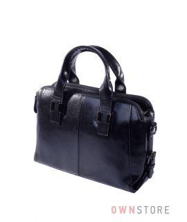 Купить онлайн сумку кожаную женскую черную на три отделения - арт.205