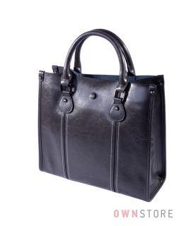 Купить онлайн сумку женскую серая прямоугольную со строчками  - арт.206