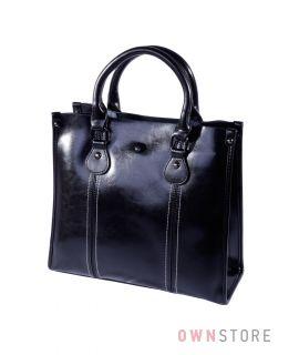 Купить онлайн сумку женскую черную прямоугольную со строчками  - арт.206