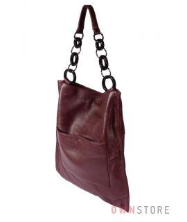 Большая прямоугольная кожаная бордовая сумка(арт.260)