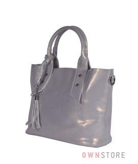 Купить онлайн сумку женскую классическую серую перламутровую - арт.2937