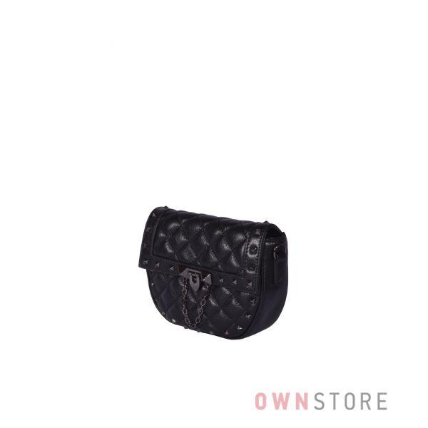 Купить онлайн миниатюрную женскую черную кожаную сумочку с заклепками - арт.3005
