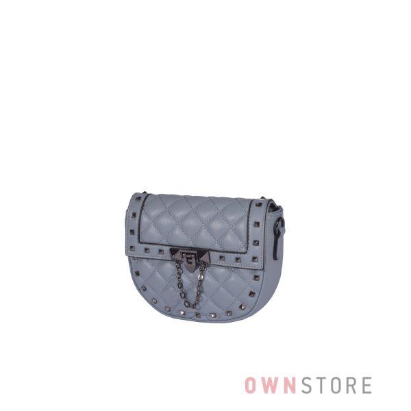 Купить онлайн миниатюрную женскую серую кожаную сумочку с заклепками - арт.3005