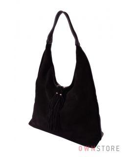 Купить онлайн женскую черную сумку треугольную из замши и кожи - арт.346