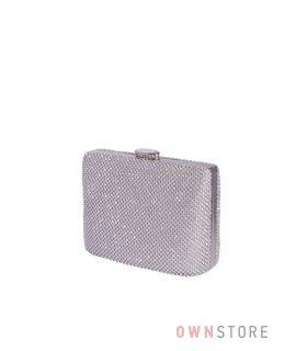 Купить онлайн сумочку-клатч женскую  в стразах серебряную  - арт.43001
