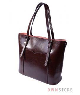 Купить онлайн сумку женскую прямоугольную коричневую кожаную - арт.502