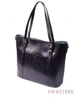 Купить онлайн сумку женскую прямоугольную черную кожаную - арт.502