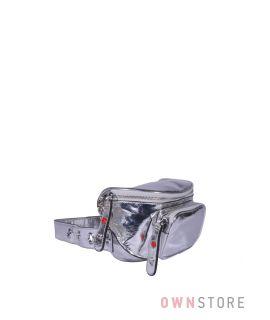 Купить онлайн сумку женскую на пояс серебряную кожаную - арт.5179
