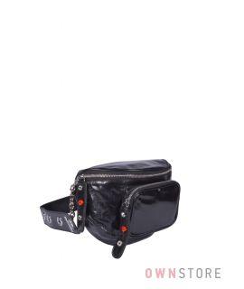 Купить онлайн сумка женская на пояс черная кожаная - арт.5179