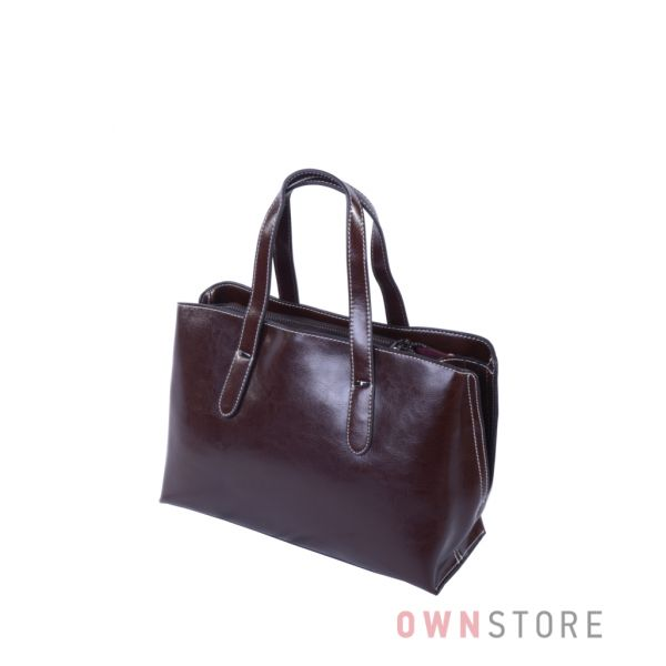 Купить онлайн небольшую коричневую женскую сумочку из кожи - арт.5988