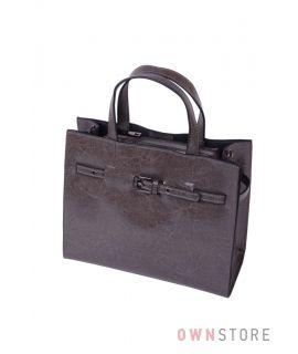 Купить онлайн небольшую серую женскую сумку с ремешком впереди - арт.6607