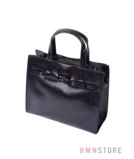 Купить онлайн кожаную женскую черную сумку небольшую с ремешком впереди - арт.6607