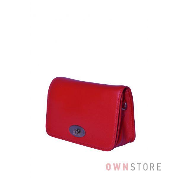 Купить онлайн маленькую красную кожаную женскую сумочку с перекидом - арт.6622