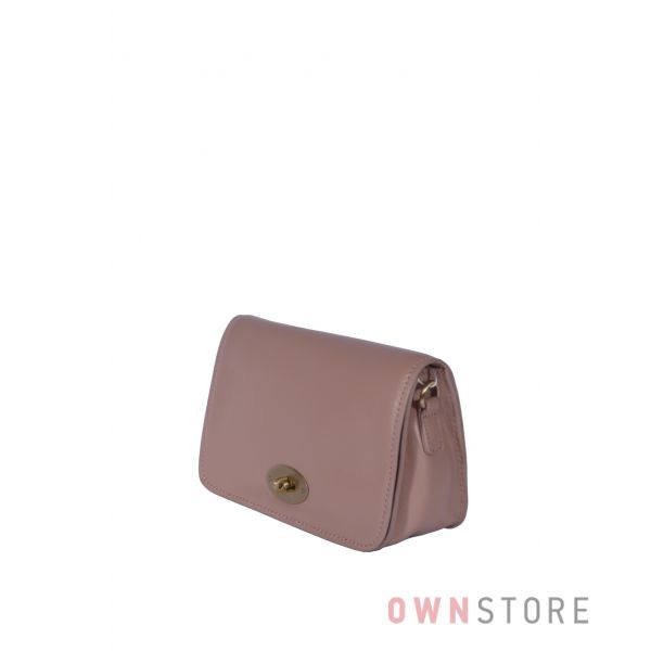 Купить онлайн маленькую бежевую женскую кожаную сумочку с перекидом - арт.6622