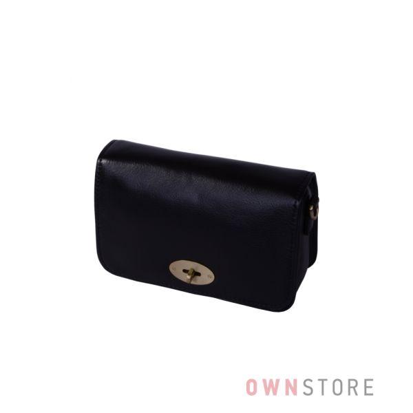 Купить онлайн маленькую черную кожаную женскую сумочку с перекидом - арт.6622