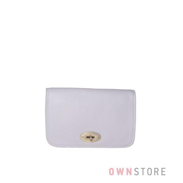 Купить онлайн маленькую белую кожаную женскую сумочку с перекидом - арт.6622