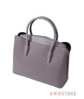Купить онлайн сумку женскую на три отделения кожаную серую  - арт.66808