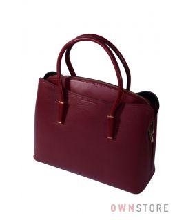 Купить онлайн женскую сумку на три отделения кожаную бордовую - арт.66808