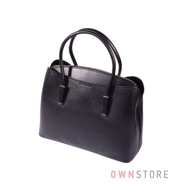 Ккпить онлайн сумку женскую из натуральной кожи на три отделения черную - арт.66808