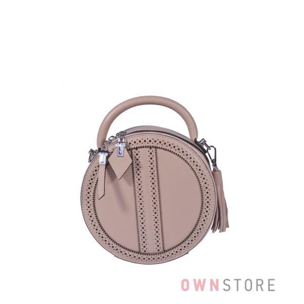 Купить онлайн круглую кожаную женскую сумочку цвета капучино - арт.6900