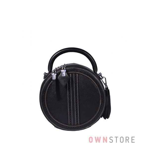 Купить онлайн круглую кожаную черную женскую сумочку - арт.6900