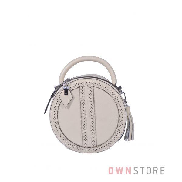 Купить онлайн круглую кожаную бежевую женскую сумочку - арт.6900