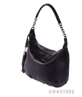 Небольшая черная сумка из натуральной кожи(арт.7130)