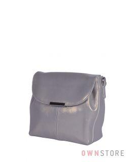Купить онлайн сумочку с клапаном серую перламутровую из кожи - арт.745